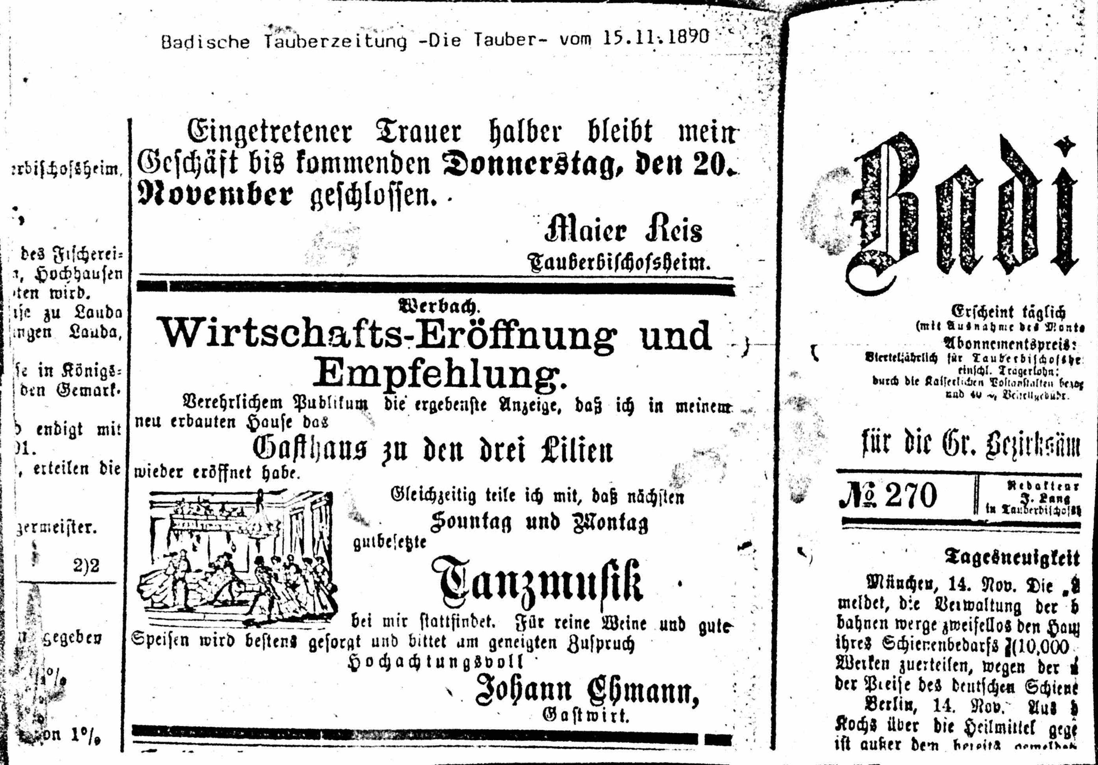 Zeitungsausschnitt Hotel Drei Lilien von 1890